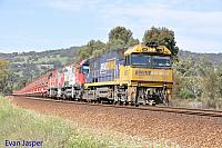 NR76, MRL001 and MRL004 on 5030 loaded MRL Iron Ore service seen here powering though Brigadoon on the 25th September 2014