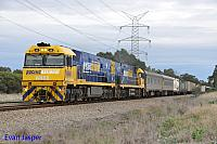 NR88 and NR9 on 1MP5 freighter seen here powering though Stratton on the 29th April 2015