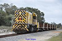 DAZ1901 on 7RT9 loaded rail train seen here heading though Muchea on the 6th September 2014