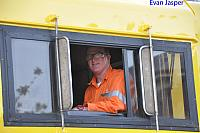 Driver Paul smiling for the camera as he goes to pick up B set 5102 from the Midland workshops on the 17th Ooctober 2014