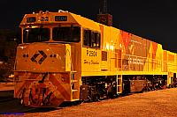 A night photo of P2504 in the new QR National livery at Forrestfield Yard on the 13th May 2011