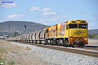 P2504 and P2514 on 7304 loaded grain train at Midland on the 14th April 2012
