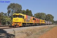 P2504, P2516 and P2508 on 3755 loco and wagon transfer from Forrestfield to Geraldton seen here heading though Millendon Junction on the 14th May 2019