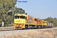 P2504, P2516 and P2508 on 3755 loco and wagon transfer from Forrestfield to Geraldton seen here heading though Baskerville on the 14th May 2019