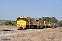 P2504, P2516 and P2508 on 3755 loco and wagon transfer from Forrestfield to Geraldton seen here heading though Upper Swan on the 14th May 2019