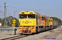 P2504, P2516 and P2508 on 3755 loco and wagon transfer from Forrestfield to Geraldton seen here heading though Muchea on the 14th May 2019