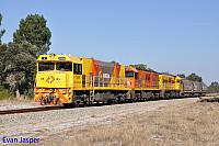 P2504, P2516 and P2508 on 3755 loco and wagon transfer from Forrestfield to Geraldton seen here heading though Chandala on the 14th May 2019