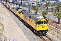 DC2205 and DC2213 on 4142 freighter at Fremantle on the 20th February 2013