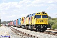 DC2205 and LZ3106 on 4144 ILS Container train seen here departing Forrestfield for Fremantle on the 22nd October 2014