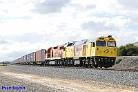 DC2205 and LZ3107 on 6144 ILS container train seen here heading though Kewdale on the 3rd July 2015