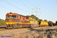 Q4001 and Q4011 on 2426 Kalgoorlie freighter seen here powering though Stratton on the 14th October 2014