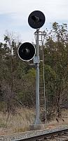 2 x 3 Aspect globe signal, The Signal on the left is a Route Indicator below, (Signal 172) This Type of signal is control by Train Control