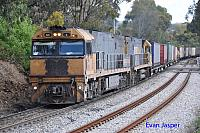 NR6 and NR42 on 6PM7 freighter seen here powering though Glenalta (SA) on the 10th November 2013