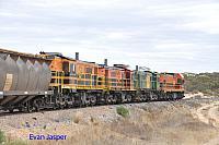 1204, 873, 851 and 850 on 2CG2 loaded grain train seen here heading though Warramboo (SA) on the 13th April 2015