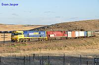 NR119 and NR75 on 6BA6 freighter seen here powering though Callington Curve (SA) on the 10th November 2013