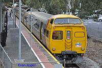 Adelaide Metro railcars 2112 2006 2010 2109 sitting at Gawler ready to do a return trip to Adelaide on the 16th April 2015
