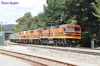 2214, GM47, GM45, GM40 and GM38 on 3152 loaded grain seen here heading though Belair (SA) for Adeliade on the 13th November 2013