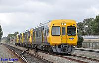 3028 3018 3024 3015 on empty railcar movement from Adelaide Station to Dry Creek depot seen here at Dudley Park on the 15th April 2015