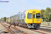 Adelaide Metro's rail cars 3105/3106/3025 work a empty rail car set to Dry creek depot seen here heading though Dudley Park on the 5th April 2017
