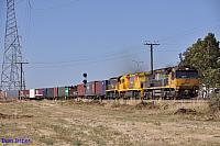 6003, 6028 and X53 on 6PM1 freighter at Dry Creek on the 20th January 2013