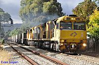 6024, 6008 and X53 on 3MP1 freighter seen here powering though Millswood (SA) on the 15th April 2015
