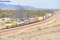 6028 and LDP002 on 5MP1 Aurizon freighter seen here heading though Port Germein on the 7th April 2017