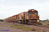 904 and GWN001 on 14WD empty GWA iron ore train seen here at Whyalla on the 12th April 2015