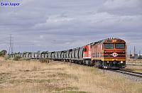 ALF19 and FQ04 on 1124 loaded grain train at Dry Creek on the 28th January 2013