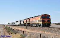 ALF20 and 2210 on 5114S GWA grain train seen here at Natawarra (SA) on the 11th April 2015