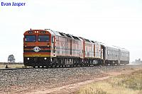 ALF24 and CLP16 on 9M26S light engines with 2 crew vans seen here heading though Direk after working ballast trains between Port Augusta and Cook on the on the 4th April 2017