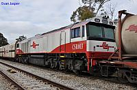 CSR003 being hauled dead back to Adelaide on 5MP9 freighter after working trains in Mebourne on the 10th August 2012