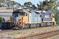 DL44 and NR114 is seen here running light engines from Adelaide freight Terminal to Adelaide Parkland Terminal for the Indian Pacific on the 12th November 2013