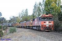 FQ03, 2207, ALF18, FQ02 amd 2212 on 2182S GWA grain train seen here powering though Nairne (SA) on the 4th April 2015