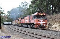 FQ03, 2207, ALF18, FQ02 and 2212 on 2182S GWA grain train seen here powering though Mount Lofty (SA) on the 4th April 2015