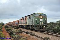 GM46, GM43 and GM42 on 6M22S loaded ballast train seen here heading though Cultana on the 17th April 2015