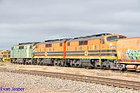 GM46, GM43 and GM42 on 6M22S loaded ballast train seen here arriving into Spencer Junction (Port Augusta) on the 17th April 2015