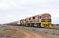 GWA005 and GWA008 on 6911 loaded iron ore train seen here powering though Tent Hill on the 17th April 2015