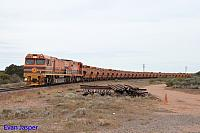 GWN002 and 1304 on 11WD empty GWA iron ore train seen here at Middle Back Junction (Near Whyalla) on the 12th April 2015