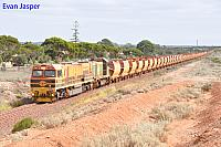 GWN004 and CK3 on BW22 loaded iron train seen here heading though Whyalla on the 10th April 2017