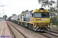 NR100 and NR78 on 5MP2 steel train seen here heading though Port Augusta on the 17th April 2015