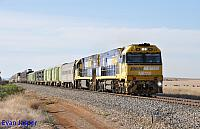 NR110 and NR16 on 5PM5 freighter seen here at Redhill (SA) on the 11th April 2015