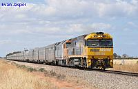 NR114 and DL44 on 3AS8 Indian Pacific seen here powering though Two Wells on the 12th November 2013