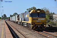 NR12 and NR13 on 5WX2 steel train heading though Port Augusta Station on the 26th January 2013