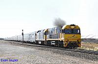 NR25 and G530 on 4SA8 Indian Pacific seen here heading though Two Wells on the 6th April 2017