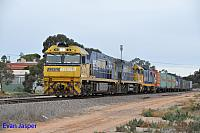 NR38, NR107 and 8115 on 7MP5 freighter seen here heading though Port Augusta on the 12th April 2015