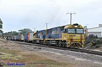 NR73 and NR49 on 7SP5 freighter seen here heading though Port Augusta on the 12th April 2015