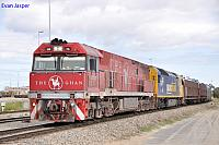 NR74 and AN1 on 1AD8 Ghan Service at Dry Creek Yard on the 12th August 2012