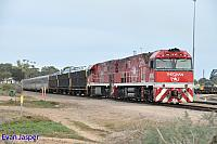 NR74 and NR109 on 1AD8 Ghan service seen here at Spencer junction near Port Augusta on the 12th April 2015