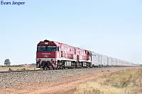 NR74 and NR109 on 4DA8 Indian Pacific seen here heading though Direk on the 14th April 2017