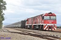 NR74 and NR75 on 1AD8 Ghan service seen here powering though Bolivar for Darwin on the 5th April 2015